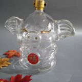 Happy Propitious Jixiang Glass Pig Shape Bottle Art Wine Whiskey Brandy Bottle