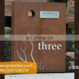 Decorative corten steel wall mounted antique letter box