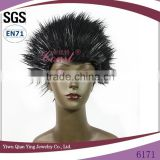 fashionable mens black synthetic hedgehog head party wig