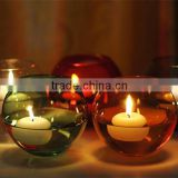 Hand made round ball green and red different colors crystal candle holder with white candles