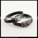 LFD-B0034 Black Color Snake Leather Paved Rhinestone Stone Magnetic Clasp Snakeskin Bangles , Cuff Bangle Bracelet