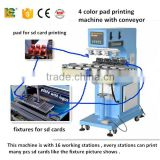 alibaaba express dongguan 4 color toy car logo pad printing machine for mug LC-spm4-150/16T with conveyor for sale