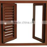 wood grain aluminum opening shutter windows casement jalousie window in guangzhou factory