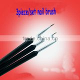 new fashion nail tool kits black 3pieces professional nail brushes drawing line nail pen set