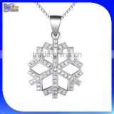 Alibaba Express Clear CZ Cubic Zircon 925 Sterling Silver Snow Flake Snowflake Necklace Wholesale