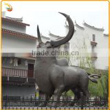 Cast Metal Bronze Garden Bull Statue Brass Bull Animal Sculpture