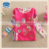 3 colors (L220) Neat 2-6Y kids wear tshirts embroidery child autumn girls tops fashion t shirt designs