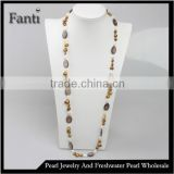 Round shell pearl and baroque bead long sweater necklace design