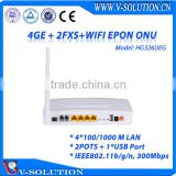 4GE+2FXS+USB Port+WiFi FTTH EPON ONU Wireless Triple Play Device Supported WEB, CLI, TR069