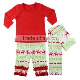 2016 red shirt kids pajamas suit with scarf printed christmas deer ruffle pants baby autumn clothes Christmas infant clothes