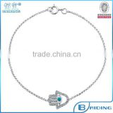 2015 fashion 925 silver evil eye hamsa charm with turquoise bead bib necklace jewelry China factory