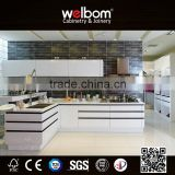 2016 Welbom Handle Free White Lacquered Kitchen Cabinet with LED Lights