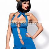 Sexy lingerie -Stewardess costume: dress, thong, cap, scarf - blue