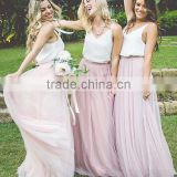 2017 summer latest women long skirt design bridesmaid dress high quality tulle skirt for wholesale