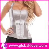 2016 newest gray zipper latex waist cinchers wholesale