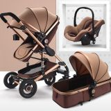 Luxury High Landscape Safe Baby Stroller 3 in 1 Aluminum Alloy Frame Cotton Canopy Stroller Baby Pram