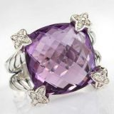 DY Sterling Silver 15mm Amethyst Cushion on Point Ring