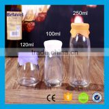 Clear storage jam jar glass pudding bottle with silicone cap                                                                         Quality Choice