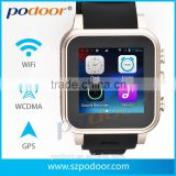 Android watch phone, OEM Android 4.4 genuine leather smart Watch, with 3G/sim card/ WIFI/GPS /GSM/WCDMA/,Android watch phone