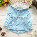 High Quality 2015 baby girls white could printed spring autumn hoodie coat children hooded jacket
