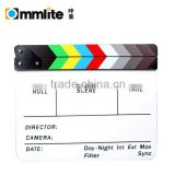 Acrylic Plastic film clapboard (9.85x11.8 inch) with color sticks Dry Erase Director's