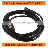 2M Cable Length Endoscope 7mm Lens Waterproof IP67 Mini USB Endoscope Camera Inspection Borescope Tube Snake Scope 6 LEDs