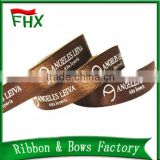 china wholesale 10mm coffee color logo satin printed ribbon for festival decoration gift packaging