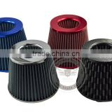 Universal 3''Inch (76mm) JDM Short Ram/Turbo/Cold Air Flow Intake Filter, Red/Blue/Silver/Carbon Fiber Air Filter with Clamp