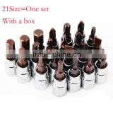 21size=One set 1/4 Inch Socket Head Screwdriver Bits Soltted Phillips Hex Screwdriver Bit Hardware Tools with Box AR-32