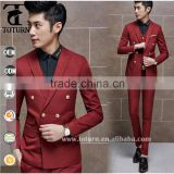 Famous italian brand clothing red color	double breasted man wedding suit groom wear top quality