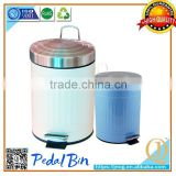 mini coloured metal waste bin with pedal street rubbish bin