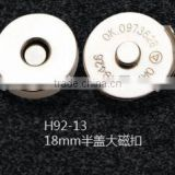 18 mm half cover magnet button for bags