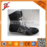 High top Pro competition genuine leather contender custom boxing shoes boxer boots mens black/white sparring muay Thai MMA