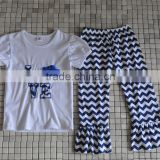 wholesale cheap custom white top and chevron blue pant girls football jerseys