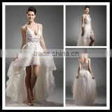 Stunning Beaded Ivory Spaghetti Straps Deep V-neck Organza Short Front Long Back Cocktail Gowns XYY-k31