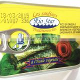 Canned Sardine in vegetable oil Sardinas en aceite vegeta Sadinhas Oleo Vegetal (125G/155G/425G)
