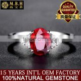 MBH jewellery factory wholesale diamond gems ring 18K gold inlay red ruby natural gemstone ring jewelry manufacturer china