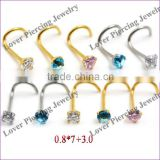 Steel Body Piercing Jewelry Nose Screw Stud Ring With Zircon [SS-N741]