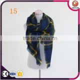 wholesale winter women scarf pashmina shawl wrap scarf plaid blanket blue plaid blanket scarf