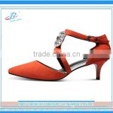 Orange color Lady's genuine leather shoes white and red low heel customized handmade