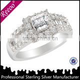 925 Silver CZ Emerald Cut Engagement Ring Baguette Side Stones