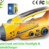 Hand Crank and solar led flashlight& Radio&Charger