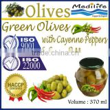 Green Olives with Green Peppers & Cayenne Peppers, High Quality 100% Tunisian Table Olives,Table Green Olives 370 ml Glass Jar