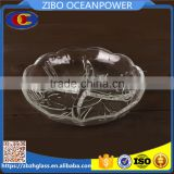 four-quadrant flower design clear round glass plate
