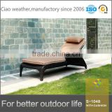 Adjustable rattan wicker outdoor chaise lounge with cushion patio sun lounger beach chair