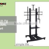 New Design Adjustable Shelf Television Cart Swivel TV Trolley TV Mount With Projector Holder