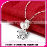 Fashion 925 silver wholesale pearl bear necklace