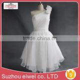 Knee Length One Shoulder Ball Gown Wedding Dress/Chiffon Wedding Dress