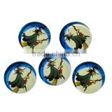 Wholesale Round Flatback Multicolor Halloween Witch Besom Pattern Transparent 20mm Glass Dome Seals Cabochons