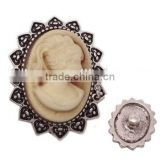 Beauty Lady Queen Resin Cameo Metal Chunks Snap Button Charms Holland Jewelry Accessories
